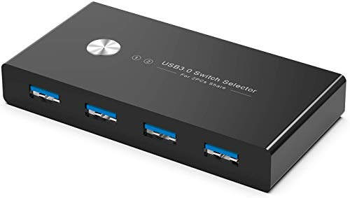 Rybozen 4 Puertos USB 3.0 Switch, USB KVM Conmutador 2 Entradas y 4 Salidas con 2 Cable USB para Compartir Teclado, Ratón, Disco Duro, Impresoras, Escáneres