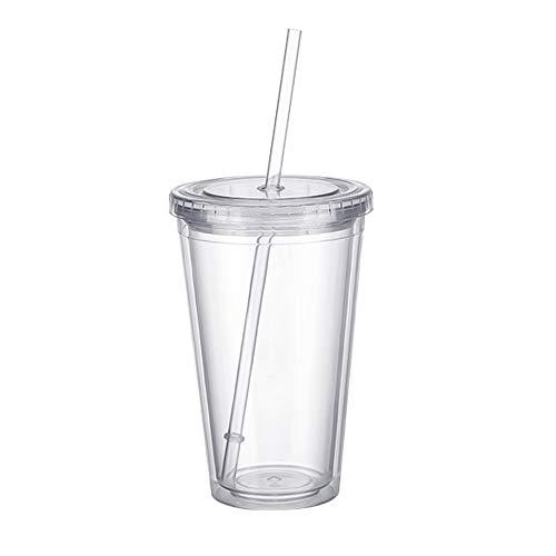 Bicchieri di plastica a doppia parete da viaggio, succo di frutta, bicchiere da tè, frullati, con coperchi in plastica e cannucce, 500 ml