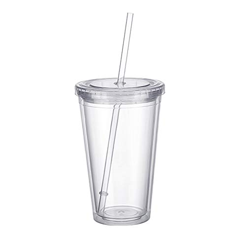 Double Walled Plastic Cups Travel Juice Tea Tumbler Cup Smoothie Cups Coffee Mug with Plastic Lids and Straws 500ml