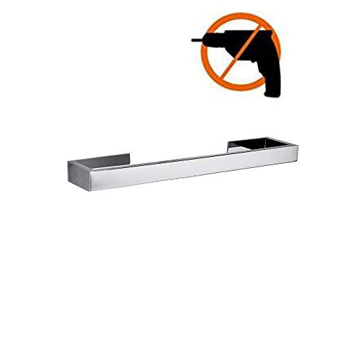 Homovater Edelstahl SUS 304 Selbstklebender Modern Handtuchhalter Transparent Acryl Stickers Pads Badezimmer Single-Handtuchstange ohne Bohren,Chrom Finish,30cm