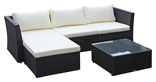 Baidani Poly-Rattan Lounge-Garnitur Starlight, schwarz, inkl. zusätzlicher Bezug in grau