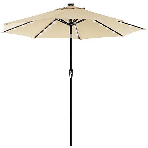 SONGMICS Sonnenschirm mit LED-Solar-Beleuchtung, Gartenschirm Ø 300 cm, UV-Schutz bis UPF 50+, knickbar, mit Kurbel zum Öffnen und Schließen, ohne Ständer, beige GPU033M01