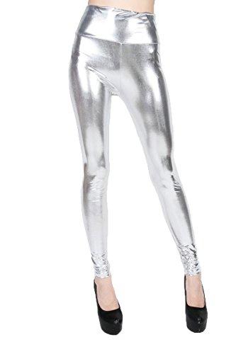 ELLAZHU Damen Metallisch Dehnbar Kunstleder Leggings Einheitsgröße 2143 Silber