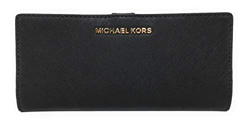 Saffiano finished leather bifold style wallet with polished golden tone hardware accents Bifold with a center snap closure with Michael Kors logo on the front Lined interior with 14 card slips, a clear ID slip Features 3 full length billfold compartm...