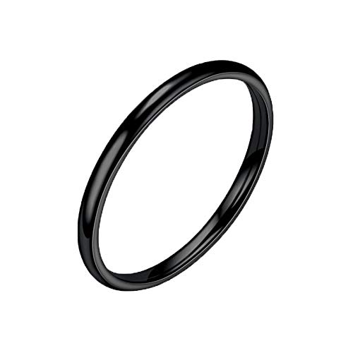 Allywit Sterling Silver Ring High Polish Plain Dome Tarnish Resistant Comfort Fit Wedding Band Ring (12, Black)