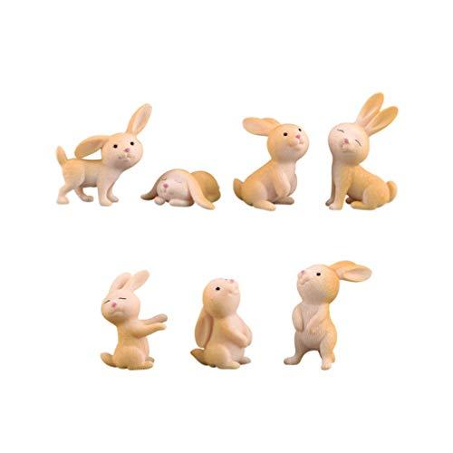 Supvox 7 Stücke Miniatur Kaninchen Bunny Figuren Ornamente Fee Garten Dekorationen Kuchendeckel Gastgeschenke Geschenke (Gemischten Stil)