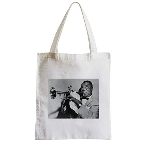 fabulous Große Tasche Sack Strand Schüler Foto von Star Berühmte Trompeter Louis Armstrong Alte Musik Original 2