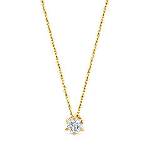 Miore Kette Damen 0.10 Ct Diamant Halskette mit Anhänger Solitär Diamant Brillant Kette aus Gelbgold 14 Karat / 585 Gold, Halsschmuck 45 cm lang
