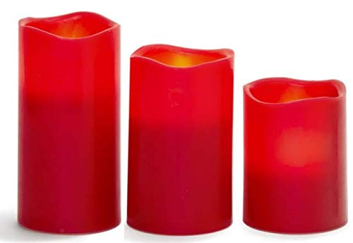 EGI - Set of 3 Flickering Red Flameless Candles with Remote Control and Timer - Romantic Red Led Candles - Made with Real Wax