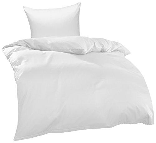Bettwaesche-mit-Stil Mako Interlock Jersey Bettwäsche Garnitur Uni/enfarbig 100% Baumwolle 135x200 + 80x80 cm, Weiß