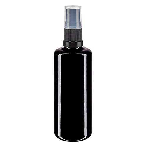 Violettglasflasche (ungefüllt), mit Pumpzerstäuber und Schutzkappe (100ml)
