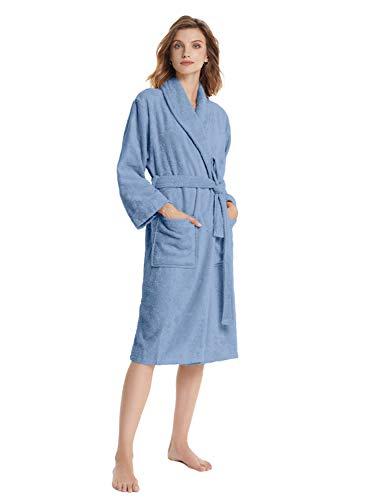 SIORO Terry Baumwollroben für Frauen Bad Hotel Robe Weicher Bademantel Wadenlänge Solid Loungewear Spa Handtuch Nachtwäsche mit Kragen, Blue Shadow Small
