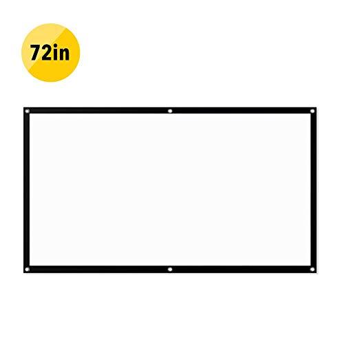 Beamer Leinwand Outdoor Indoor Mobile,60/72/84/92 Zoll, 4: 3 Filmtuch, Einfach Zu Installierende Leinwand, Faltbar, Projektor-Anti-Licht-Leinwand, Praktisches Heimkino 72 Pouces