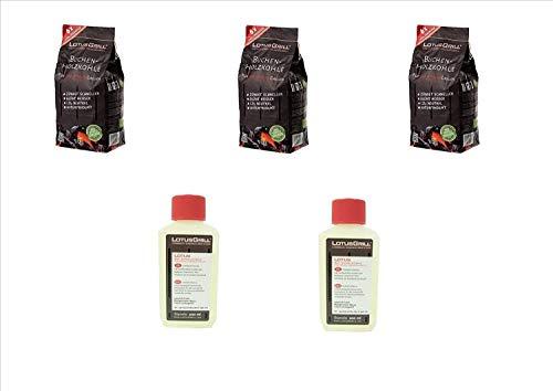 Lotus grill kit Carbonella di Faggio Piccola 3x 1Kg + 2 confezione gell per accensione Originale Lotus Grill Barbeque BBQ