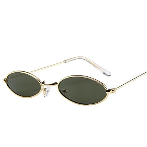 Huhu833 Mode Unisex Retro kleine ovale Sonnenbrille Metallrahmen Shades Eyewear Reise Sonnenbrille (Grün)