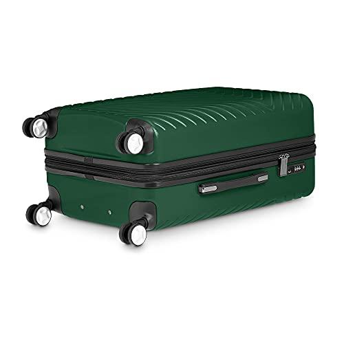 Amazon Basics 3 Piece Geometric Hard Shell Expandable Luggage Spinner Suitcase Set - Green