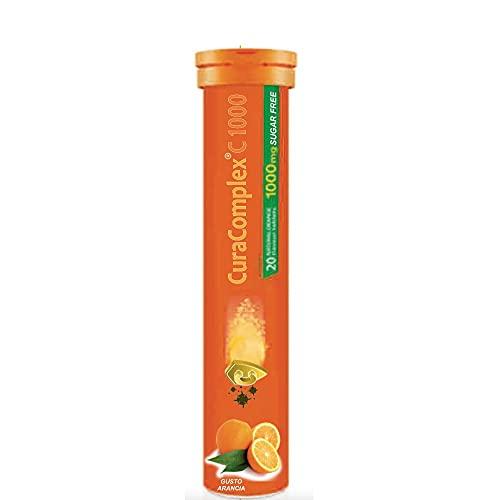 Cura Complex C 1000 MG– Compresse Effervescenti Alimentari Senza Zucchero – Gusto Arancia – Tubo Da 20 Compresse – Cura Farma