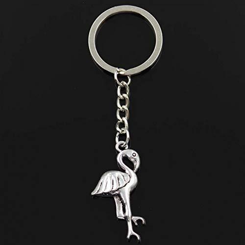 Soporte único Crane Flamingo 41x19mm Colgante 30mm Llavero Cadena Color Plata Hombres Coche Llavero de Regalo