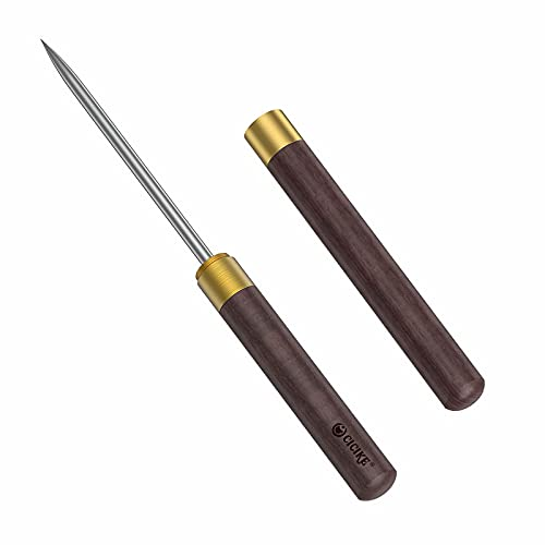 Stainless Steel Ice Pick with Safety Cover, Pick Tool for Breaking Ice, Non-slip Wooden Handle for Easy to Grip, 9 Inches Length
