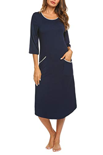 MAXMODA Damen Nachthemd Kleid Nachtwäsche Negligees 3/4 Ärmel Winter Schlafhemd Navy Blau S