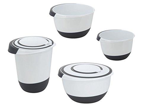 Rührschüssel Set - 4-teilig - Kunststoff Schüssel mit rutschfestem Boden und Deckel - Spülmaschinenfest