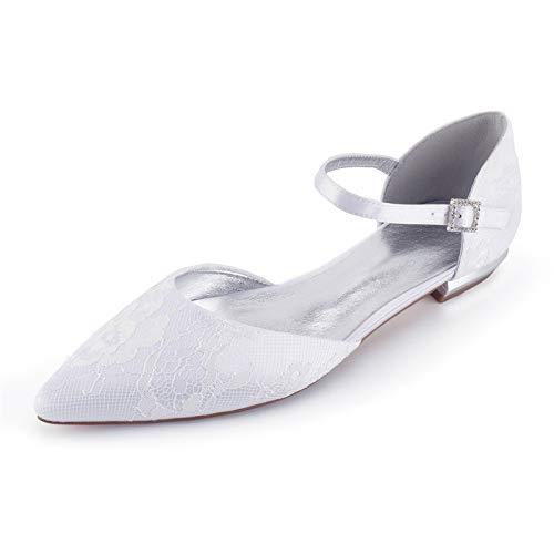 AQTEC Donna Punta a Punta Pizzo di Raso Tacco Basso Piatto Ballerine con Cinturino alla Caviglia Partito Scarpe da Sposa,Bianca,37 EU