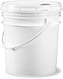 Ropak USA 5 gallon Food Grade White Plastic Bucket with Handle & Pour Spout Lid - Set of 3
