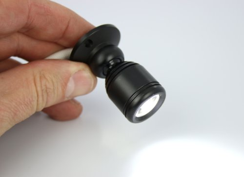 Micro Pivoting LED Spotlight - 1 Watt High Power LED Lamp - Tiny Size, Cool White LED, 12 to 28VDC