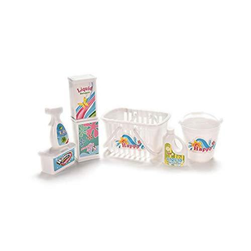 Hiinice 7pcs Dollhouse Lavadora Detergentes para La Ropa Juego De Accesorios Juego De Imaginación Lavado Conjunto De Herramientas Convenientes