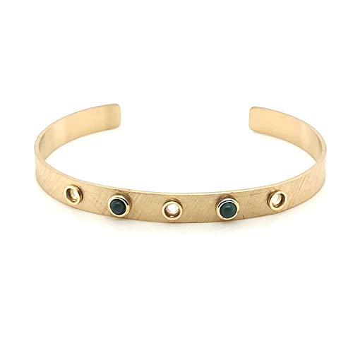 Bracelet Zag jonc doré Vert - Gold Green - Malachite
