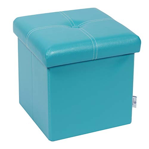 B FSOBEIIALEO Folding Storage Ottoman, Faux Leather Footrest Seat Coffee Table Toy Chest Kids, Blue 11.8'x11.8'x11.8'