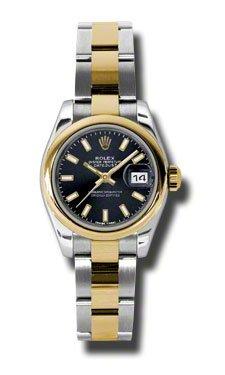 Rolex Datejust Giallo Orologio da donna in acciaio nero oro quadrante e