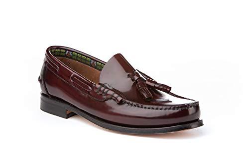 Mocasines con borlas para Hombre. Zapatos Castellanos Fabricados con Piel bovina. Disponibles Desde la Talla 40 hasta la Talla 45 - A&L Shoes Modelo 476 Color Burdeos.
