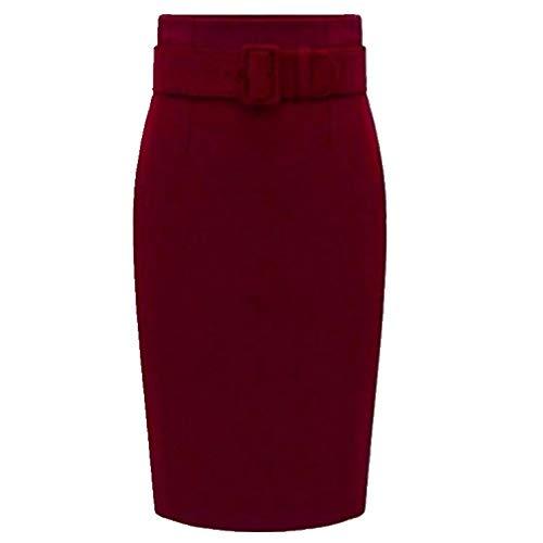 N\P Otoño Invierno de Algodón plus tamaño de Talle Alto, Casual Mini Lápiz Falda de Oficina Versátil Falda