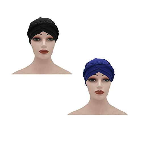 RKRCXH Sombreros de Turbante Suaves para Dormir de 2 Piezas Sombrero Turbante Estampado Sombrero del Sueño Gorro para la Mujer envolturas Cabeza Africana para Mujeres Negras(Color:1)