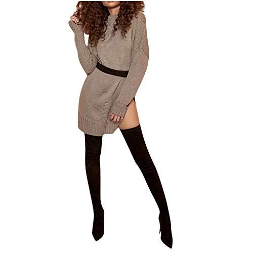 DQANIU Damen Kleid, Damen Herbst Winter Casual Solid Color O-Neck Pullover Kleid Mini Sweater Knit Spliting Kleid