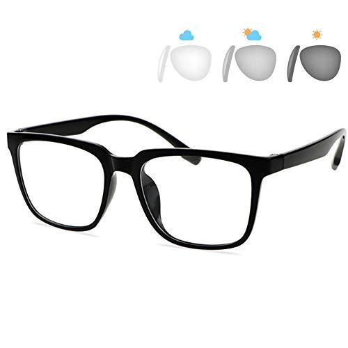 ACXZ Gafas de Sol fotocromáticas, progresivas, de Enfoque múltiple, para Hombres y Mujeres, Gafas de protección UV antirreflejos, Marco Cuadrado de Gran tamaño, Negro (Fuerza 1.0-3.0)