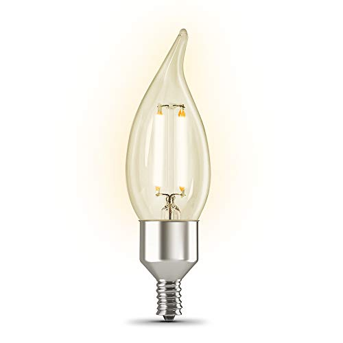 Feit Electric CFC40/927CA/FIL/AG 40 Watt Equivalent WiFi Dimmable, No Hub Required, Alexa or Google Assistant, Flame Tip Filament Chandelier LED Smart Light Bulb, 4.3