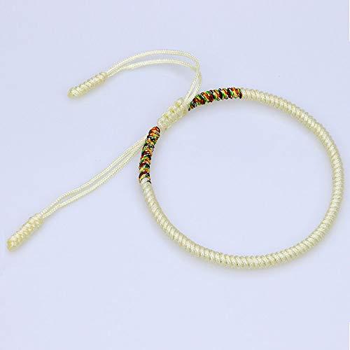 Geflochtenes Armband,Handgestrickte Tibetischen Seil Ornamente Vajrayana Buddhismus Knoten Ursprüngliche Einfache Ethnische Beigefarbenen Einstellbare Armbänder Personalisierte Kleidung Accessoires