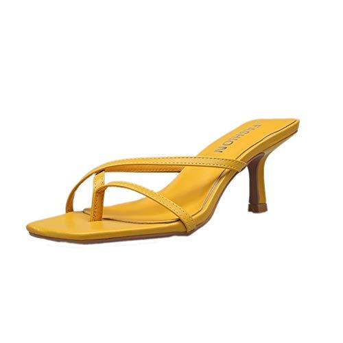 ManRuiDian Amarillo mujeres de las sandalias de moda los tacones altos sandalias de las señoras zapatos de las mujeres elegantes del verano sandalias atractivas al aire libre deslizadores de las mujer