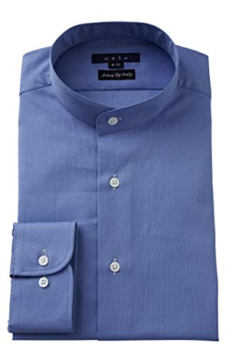[オジエ] ozie【メンズ・ワイシャツ・カッターシャツ】長袖・綿100%・レギュラーフィット・スタンドカラー 白 青