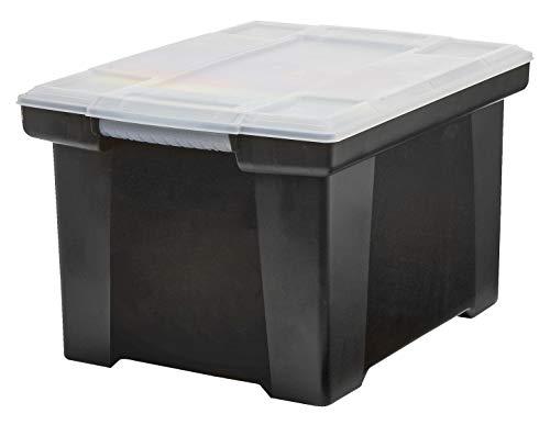 Plastic File Tote Storage Box, Letter/Legal, Snap-On Lid, Black
