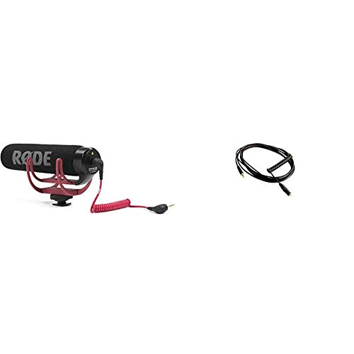 Rode Microphones VideoMic GoMicrófono de Condensador para cámara DSLR, Jack 3.5 mm, Color Negro + VC1Cable alargador Mini Jack para micrófono de videocámara (3 m), Color Negro