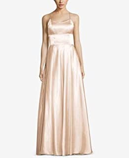 BETSY & ADAM Womens Beige Strappy Back Gown Scoop Neck Full-Length Evening Dress US Size: 12