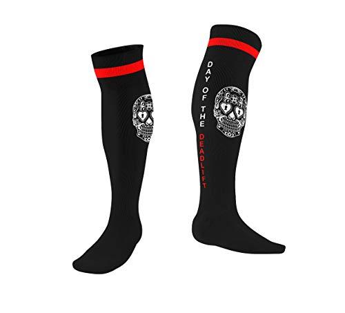 Athletic Knee High Socks- Day of the deadlift- For Powerlifting & CrossFit (black)