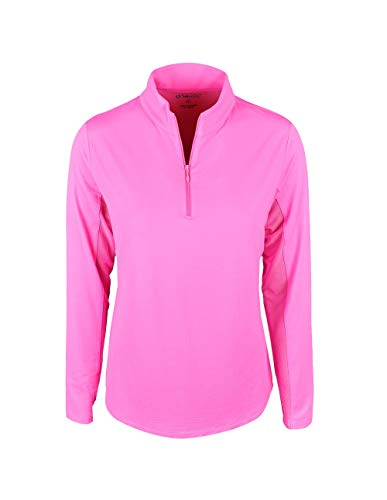 IBKUL Golf- Ladies Long Sleeve 1/4 Zip Mock Hot Pink M