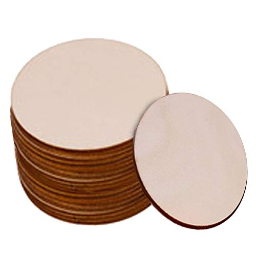 JeogYong Unfinished Wood Circles, 25pcs 4 Inch Round Painting Wooden Chips Wood Log Slices for Christmas Decorations, 3mm Thickness Blank Ornaments Wooden Cutouts for DIY Craft, Tags, Carving