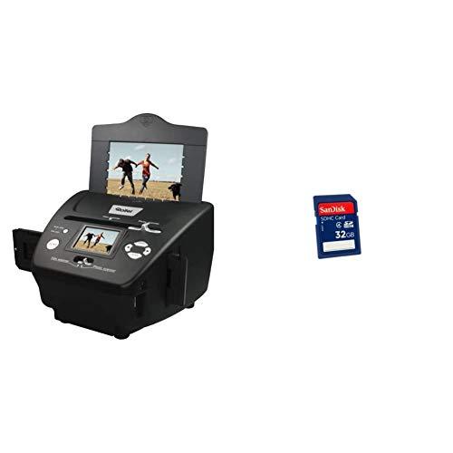 Rollei PDF-S 240 SE - Multiscanner für Fotos, Dias und Negative, sekundenschneller Scanvorgang, inkl. Bildbearbeitungssoftware - Schwarz & SanDisk SDHC 32GB Class 4 Speicherkarte