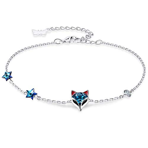 PLATO H Fox Bracelet Thin Fine Chain for Women Girls Blue Crystal Animal Jewelry with Gift Box