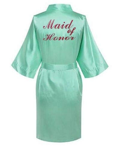 AIYASIWEI Stijlvolle en zachte rode letters Robes.Bride Robes pyjama Badjas Nightgown.Women's Satijn Bruiloft Kimono Slaapmode Maak je klaar Robes (kleur: Green Maid of Honor, Maat : XXL)
